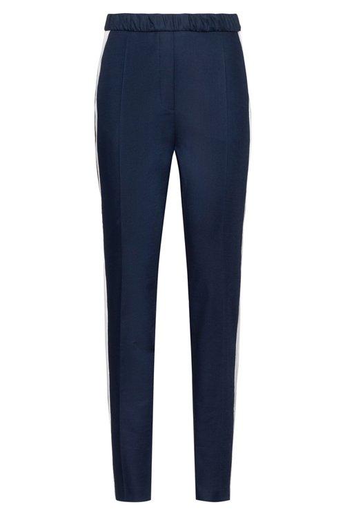 Hugo Boss - Pantalones de talle alto en tejido de gabardina elástico con raya en contraste - 1