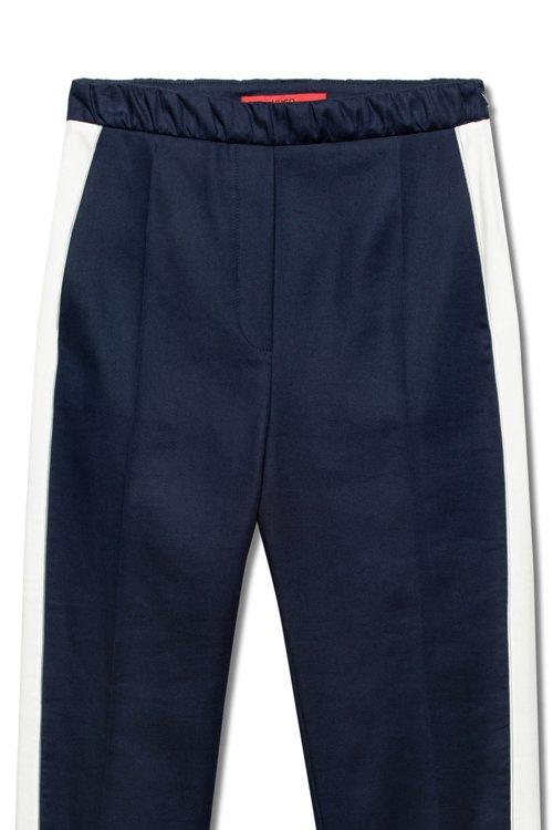 Hugo Boss - Pantalones de talle alto en tejido de gabardina elástico con raya en contraste - 6