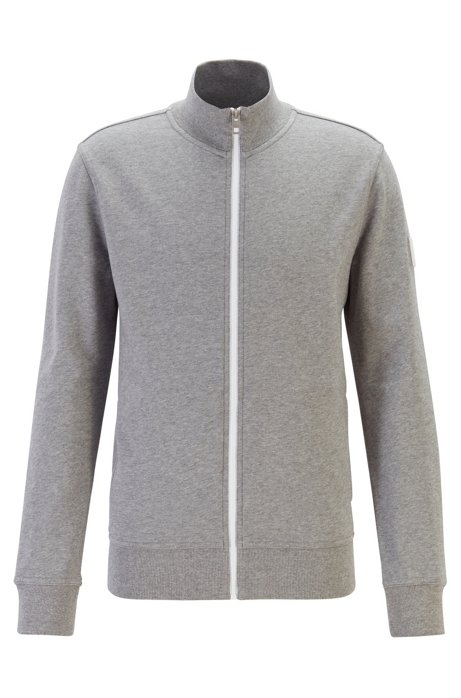 Relaxed-fit jacket in cotton with rubber trimmings, Light Grey
