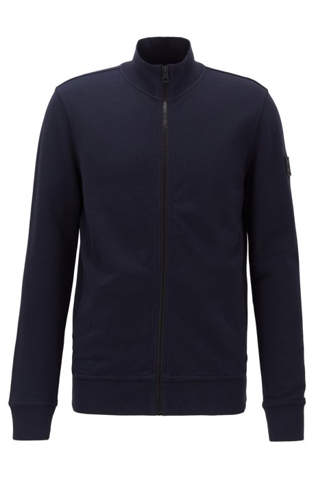 Relaxed-fit jacket in cotton with rubber trimmings, Dark Blue