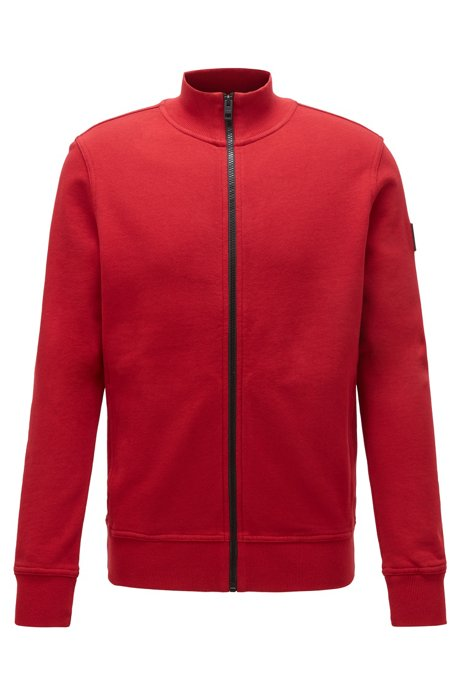 Relaxed-fit jacket in cotton with rubber trimmings, Red