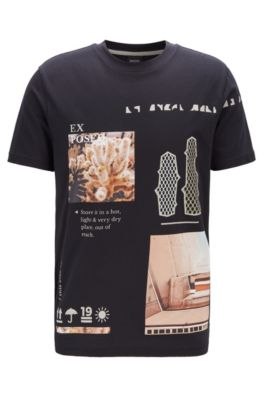 Crew-neck T-shirt in Recot²® cotton with collection print, Black
