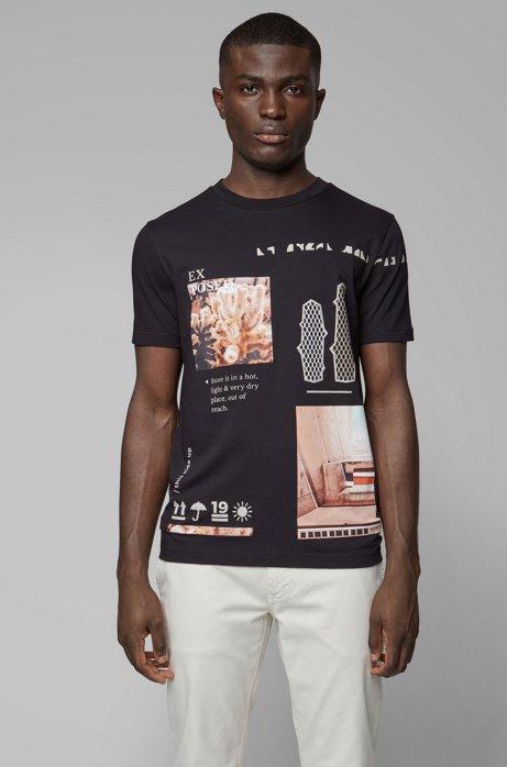 T-Shirt aus recot²®-Baumwolle mit Rundhalsausschnitt und Print aus der Kollektion, Schwarz