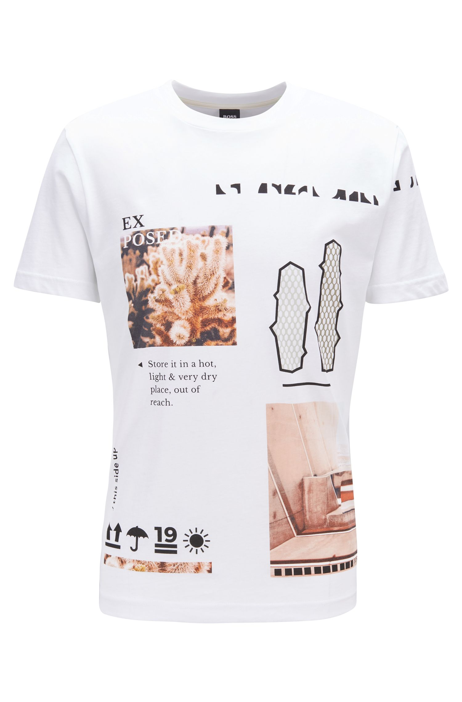 Crew-neck T-shirt in Recot²® cotton with collection print, White