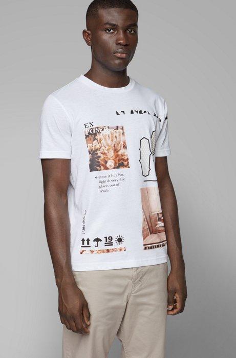 T-Shirt aus recot²®-Baumwolle mit Rundhalsausschnitt und Print aus der Kollektion, Weiß