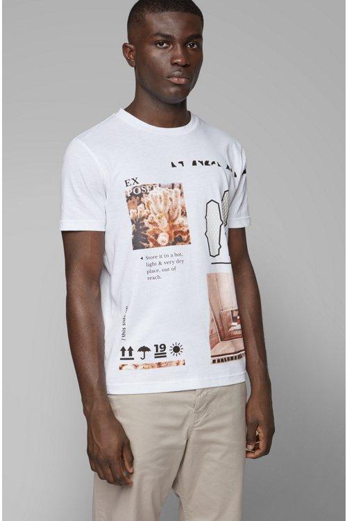 Hugo Boss - T-shirt à col rond en coton recot²® à imprimé emblématique de la collection - 3