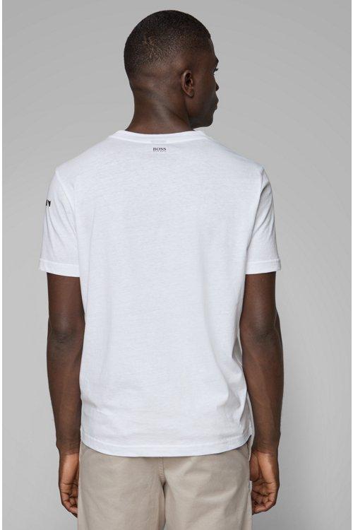 Hugo Boss - T-shirt à col rond en coton recot²® à imprimé emblématique de la collection - 4