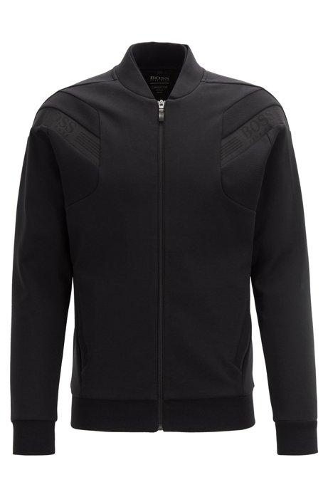 Zip-through sweatshirt with logo-tape trims, Black