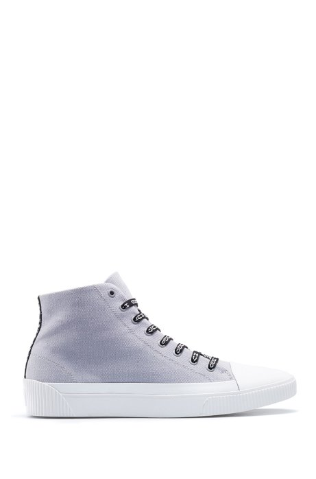 Sneakers high-top in tela con stringhe con logo reversed, Grigio