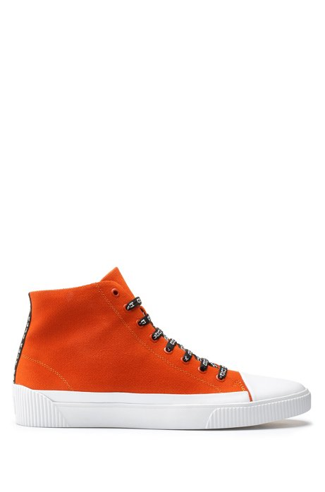 High-top trainers in canvas with reverse-logo laces, Orange