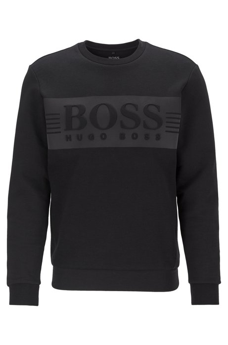 Logo sweatshirt in a stretch-cotton blend, Black