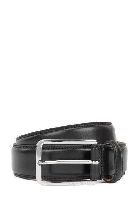 Italian-made belt in leather with double-stitching detail, Black