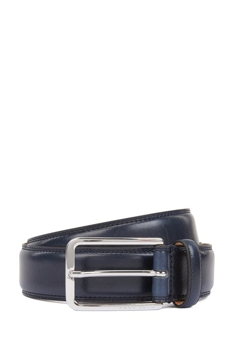 Italian-made belt in leather with double-stitching detail, Dark Blue