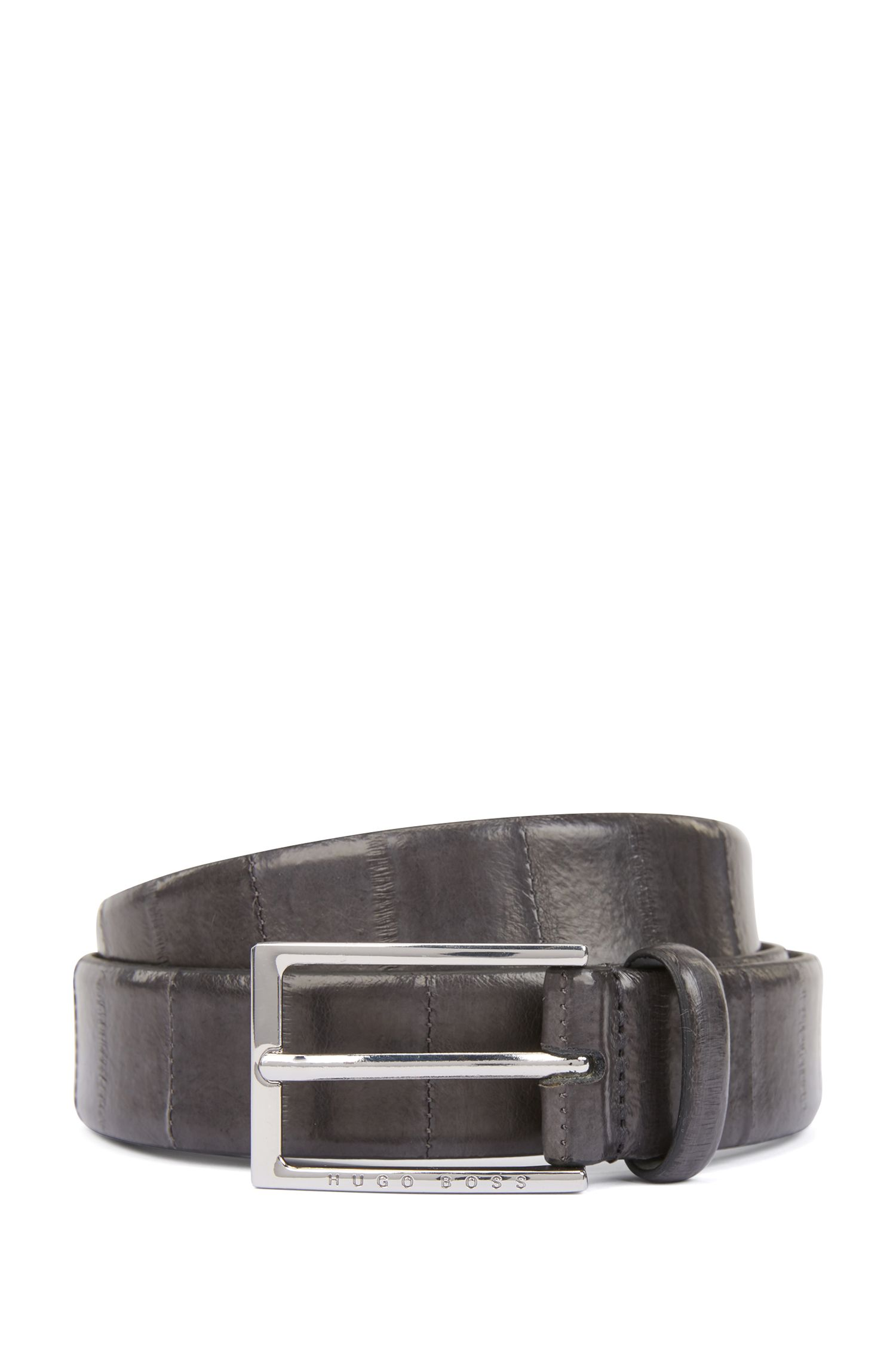 Gürtel aus bedrucktem Leder mit Dornschließe und Rückseite aus Leder, Dunkelgrau