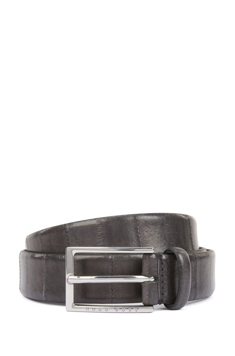 Pin-buckle belt in printed eelskin with leather lining, Dark Grey