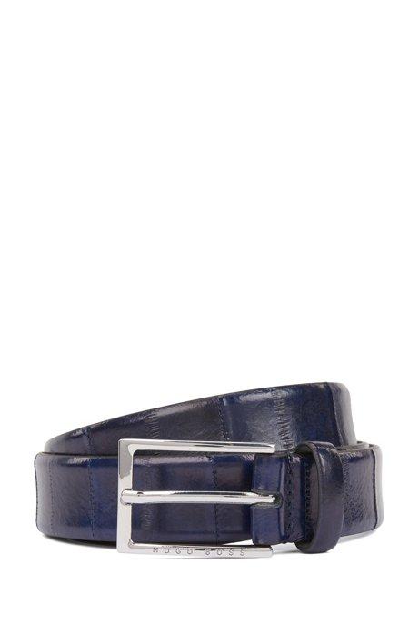 Gürtel aus bedrucktem Leder mit Dornschließe und Rückseite aus Leder, Dunkelblau