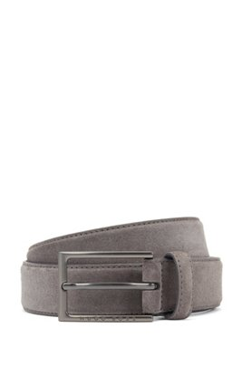 Gürtel aus italienischem Veloursleder mit Dornschließe und spitz zulaufendem Ende, Grau