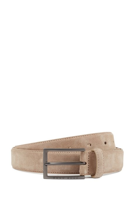 Pin-buckle belt in Italian suede with tapered tip, Beige