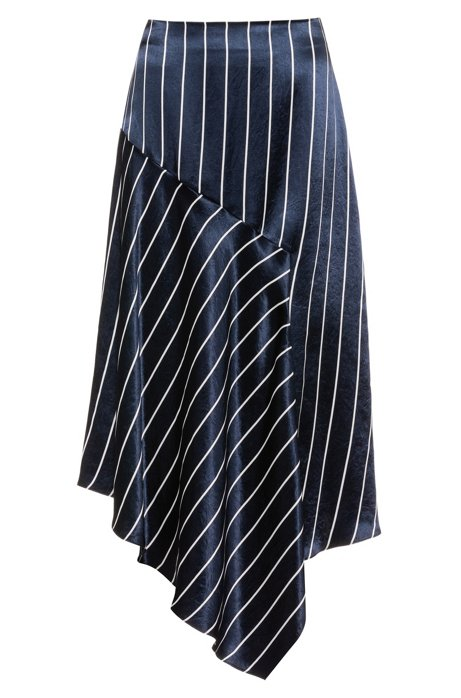 Striped high-waisted midi skirt with asymmetric hem, Patterned