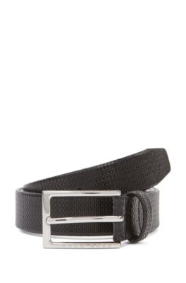 Business belt in monogram-embossed leather, Noir