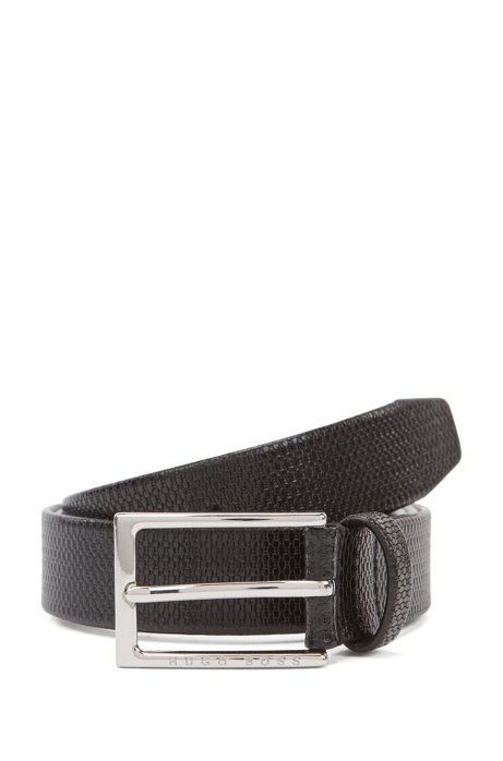 Business belt in monogram-embossed leather, Schwarz