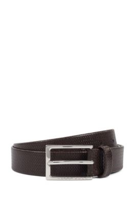 Business belt in monogram-embossed leather, Dunkelbraun
