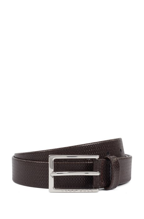 Business belt in monogram-embossed leather, Dark Brown