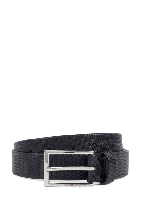 Business belt in monogram-embossed leather, Dark Blue