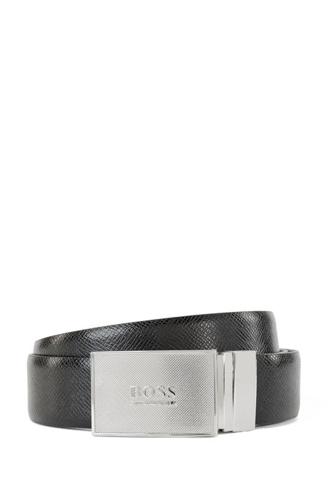 Reversible smooth and embossed leather belt with plaque buckle, Black