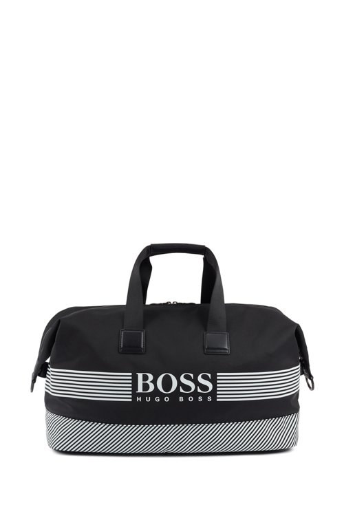 Hugo Boss - Logo holdall in structured nylon with printed stripes - 1