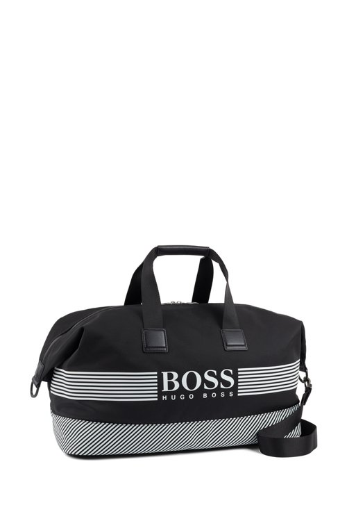 Hugo Boss - Logo holdall in structured nylon with printed stripes - 3