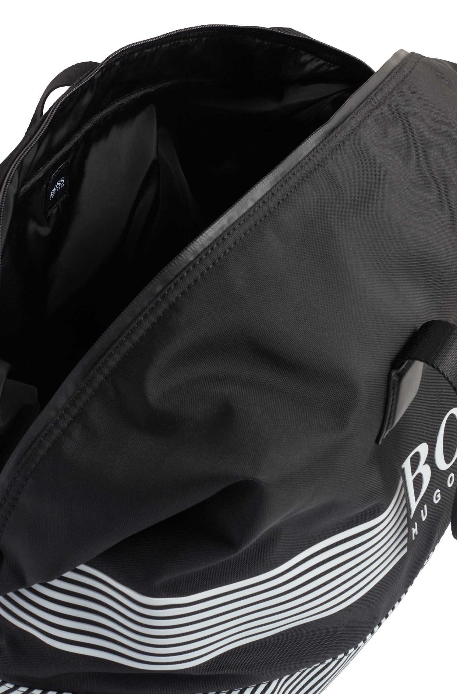Logo holdall in structured nylon with printed stripes, Patterned