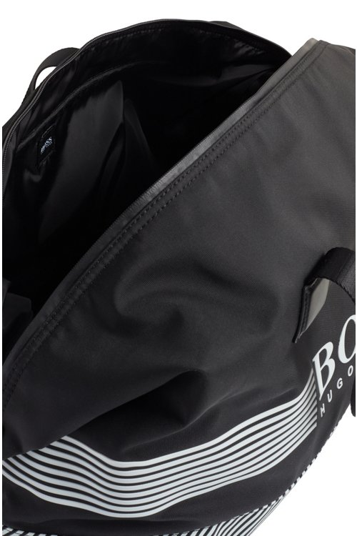 Hugo Boss - Logo holdall in structured nylon with printed stripes - 4