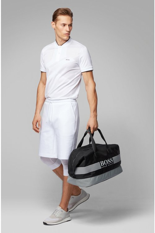 Hugo Boss - Logo holdall in structured nylon with printed stripes - 2