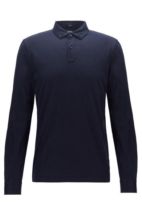 Slim-fit long-sleeved polo shirt in mercerised cotton, Dark Blue