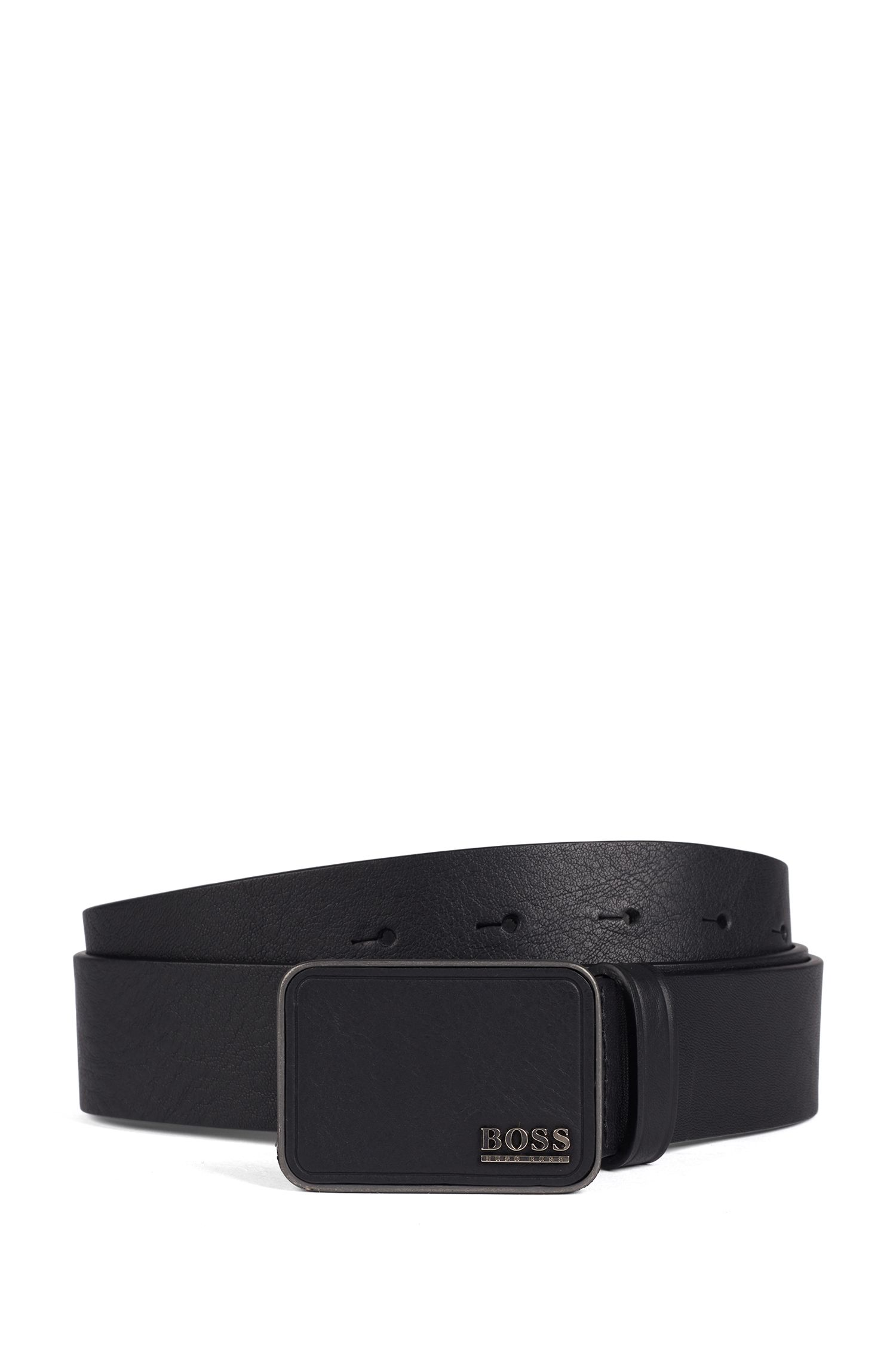 Italian-crafted belt in vegetable-tanned leather, Black