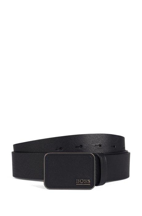 Cinturón elaborado en Italia con piel de curtido vegetal, Negro