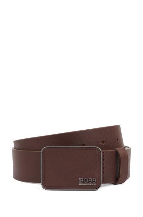Cinturón elaborado en Italia con piel de curtido vegetal, Marrón oscuro