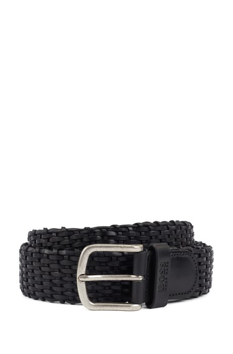 Woven leather belt with tubular structure, Black