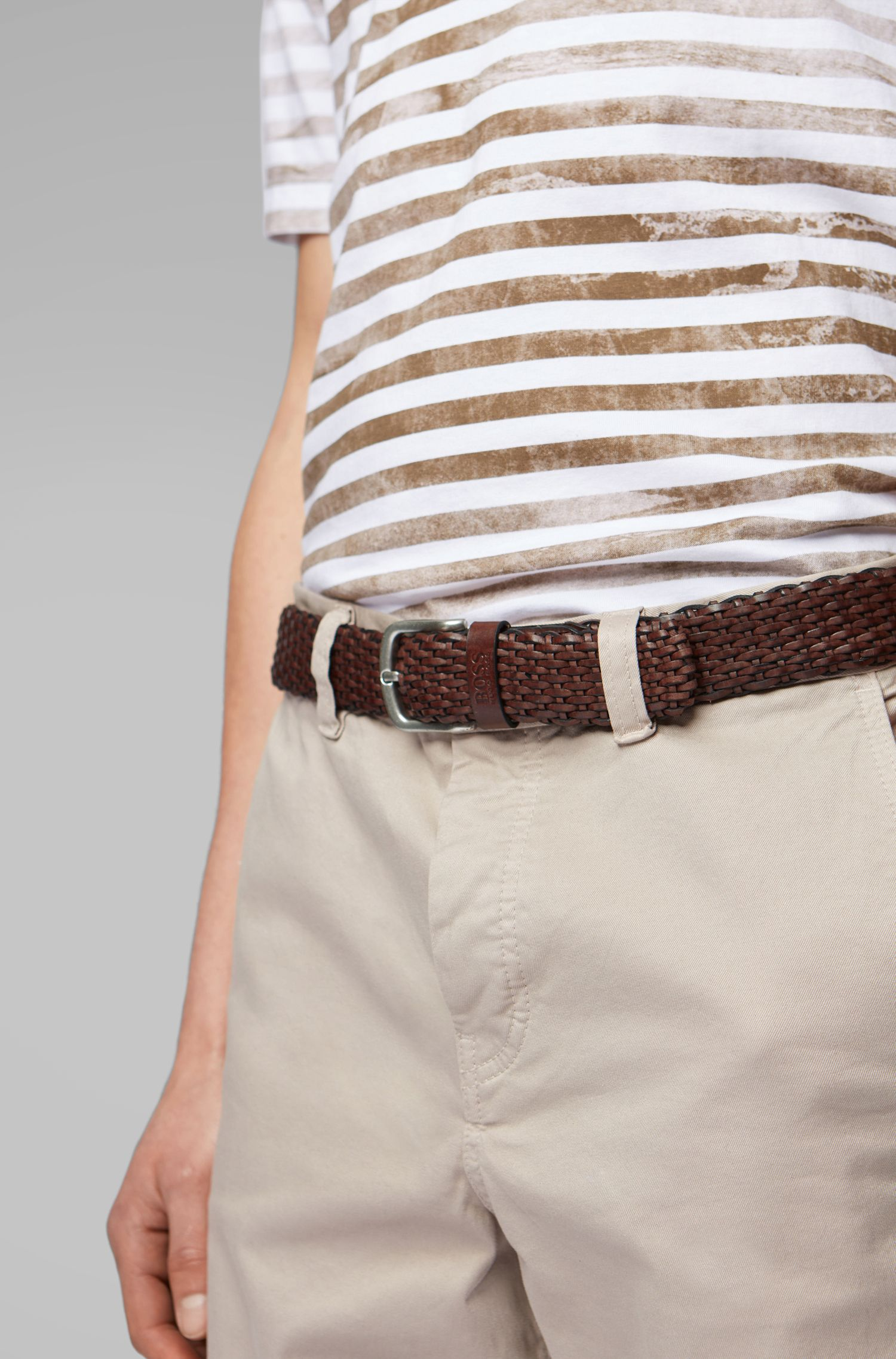 Woven leather belt with tubular structure, Dark Brown