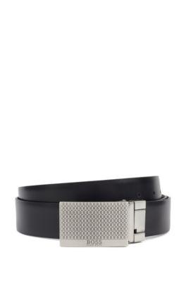 Cintura reversibile in pelle con fibbie con placchetta e ad ardiglione, Marrone scuro