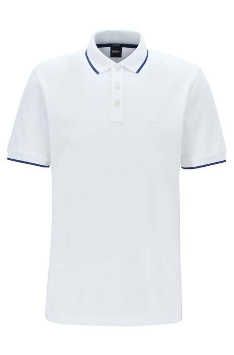 Regular-fit polo shirt with tipping stripe details, White