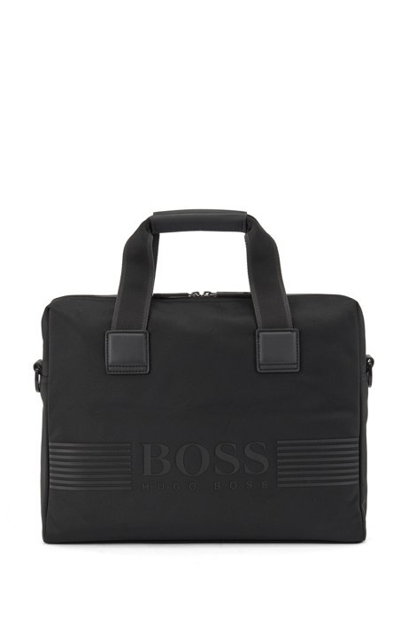 Zip-up document case in structured nylon, Black
