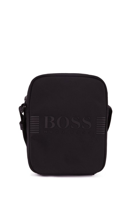 Reporter bag in structured nylon with printed logo, Black
