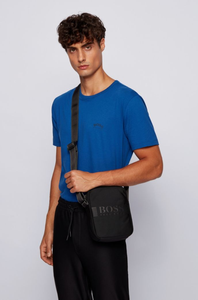 Reporter bag in structured nylon with printed logo