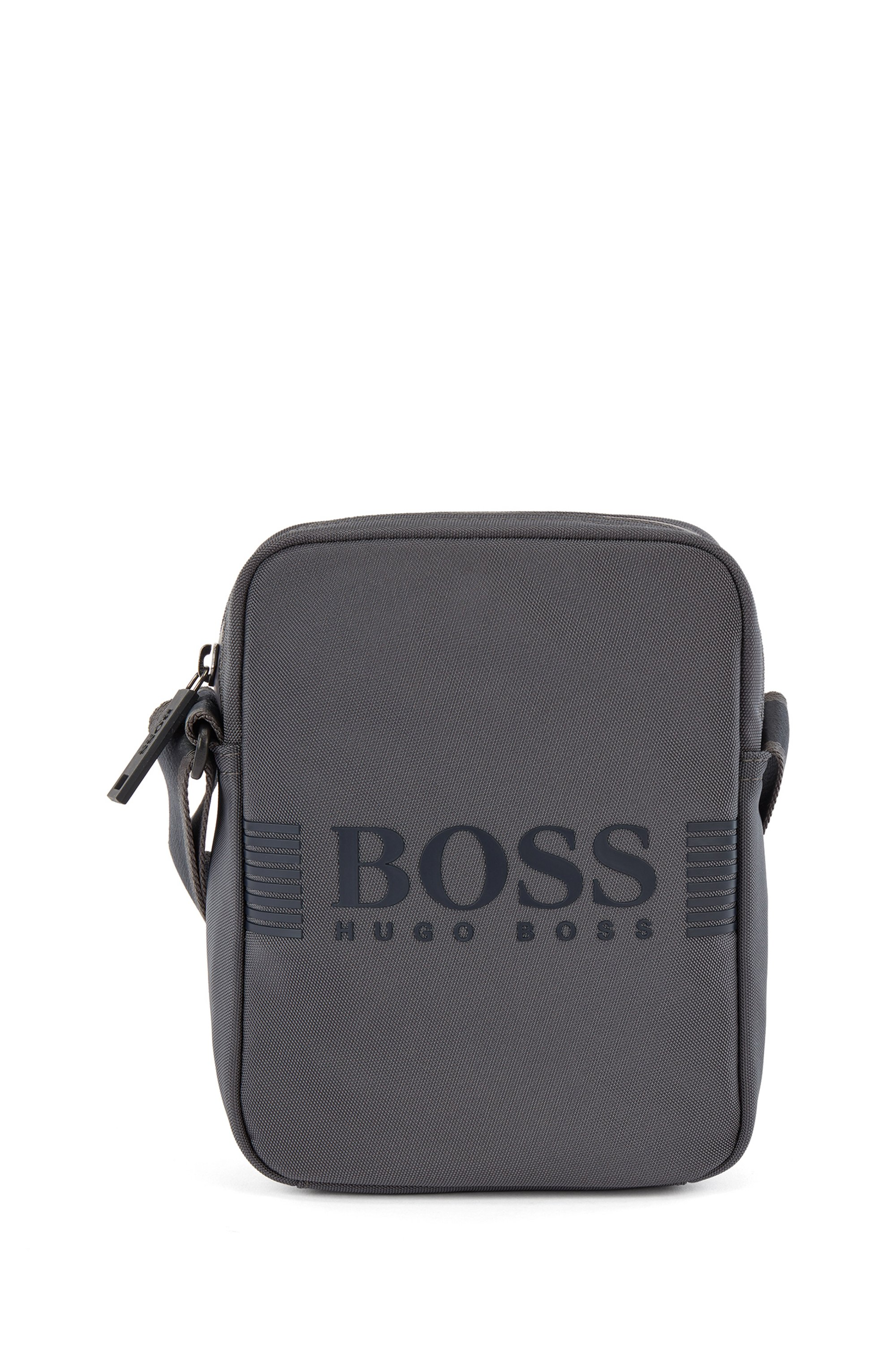 Reporter bag in structured nylon with printed logo, Dark Grey