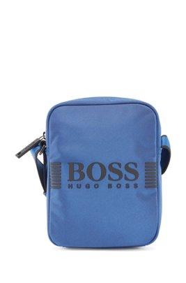 Bolso mensajero de nylon con estructura y logo estampado, Azul