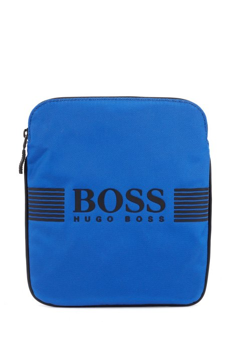 Borsa a busta con logo e robusto cinturino bicolore, Blu