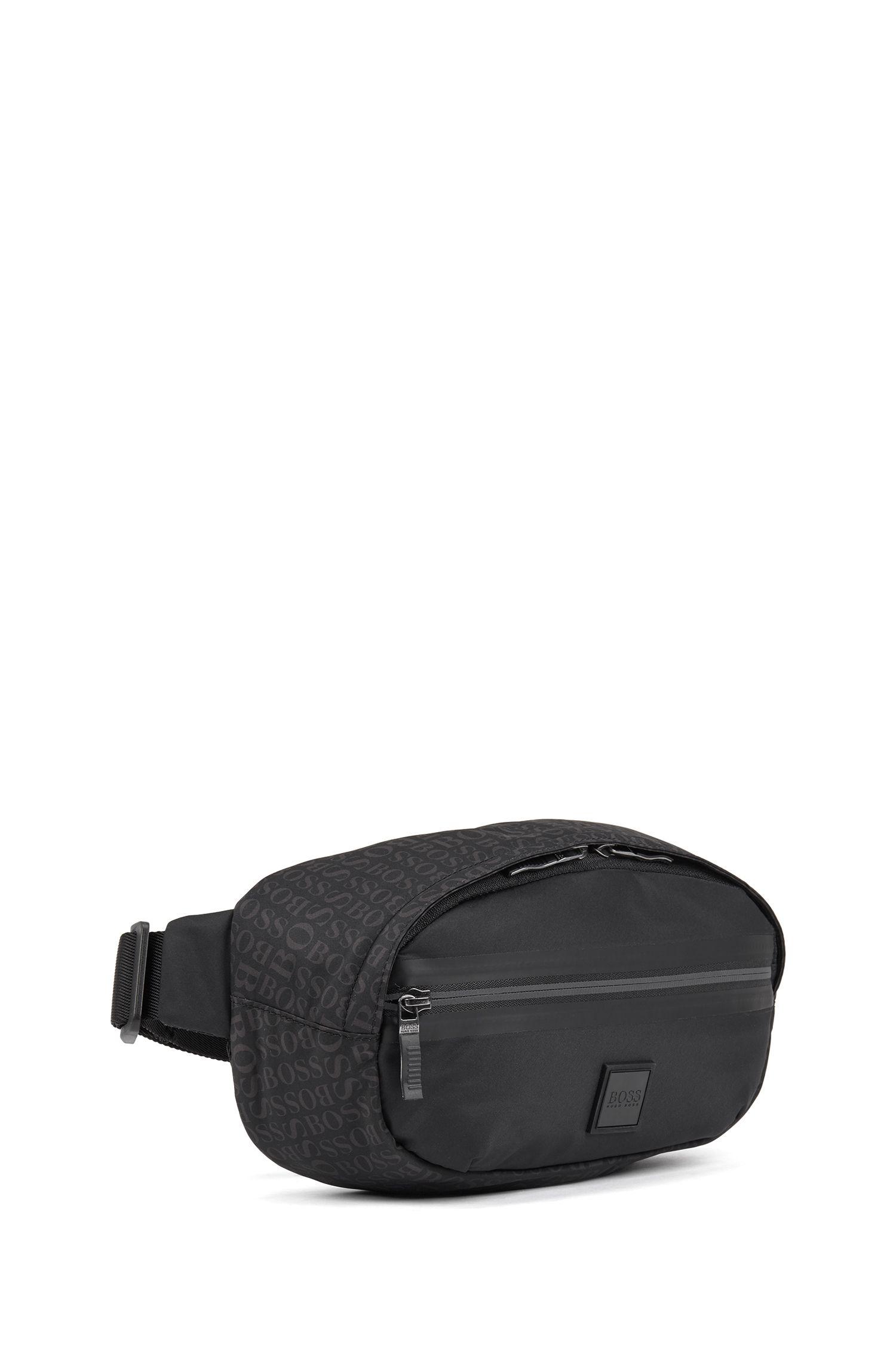Gürteltasche aus feinem Nylon mit Logo-Print, Schwarz