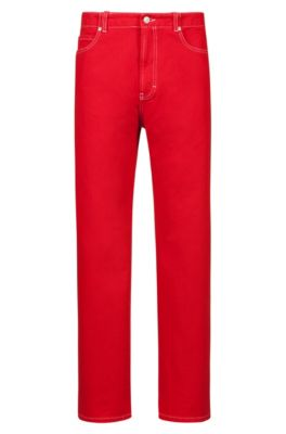 Relaxed-fit jeans in overdyed denim with turn-ups, Red